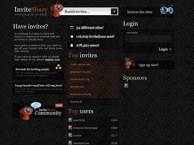 Tester des services web 2.0 avec InviteShare...