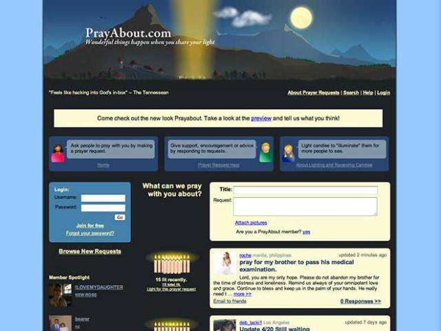 Priez en ligne avec PrayAbout...