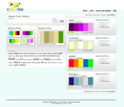 colorbe pour trouver et partager des palettes de couleurs. Black Bedroom Furniture Sets. Home Design Ideas