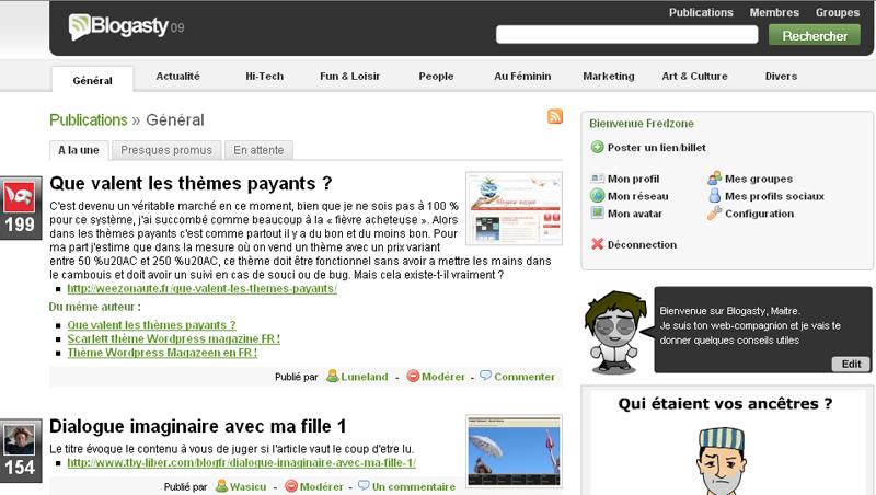 Blogasty 09 : la page d'accueil