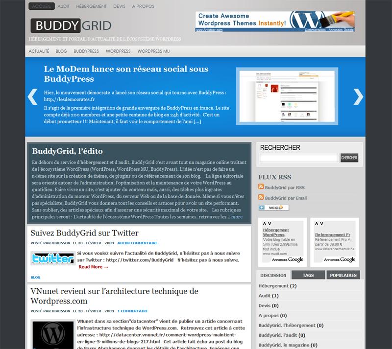 BuddyGrid : un hébergeur dédié à Wordpress