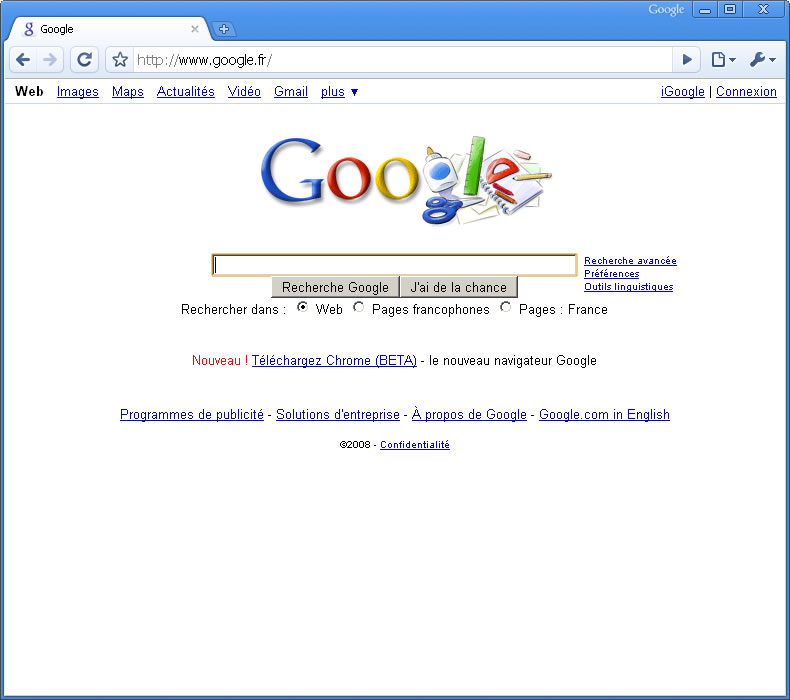 Google Chrome, une capture officielle...
