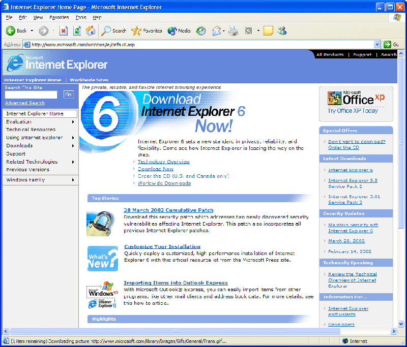 Internet Explorer 6, de bien jolis souvenirs...