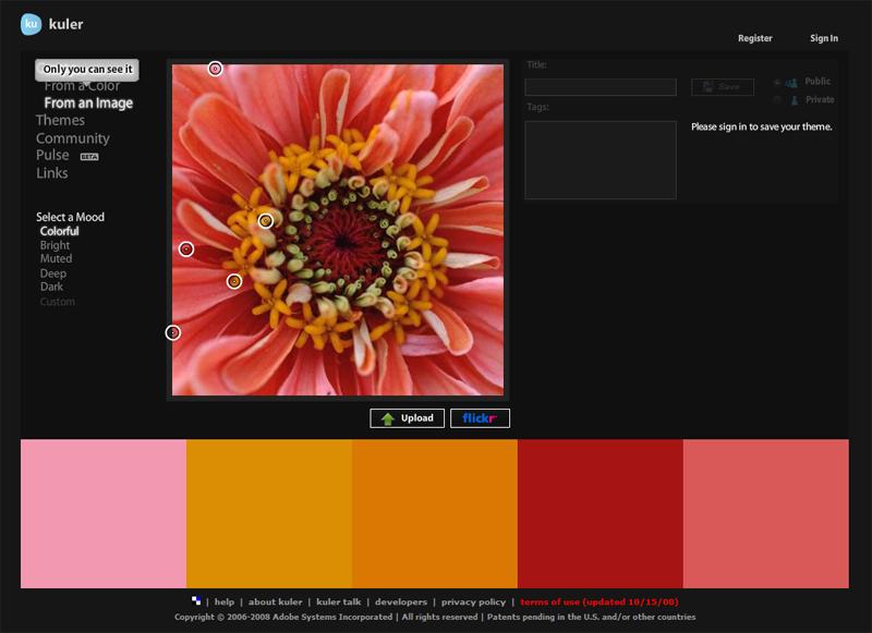 Kuler : trouver des couleurs en fonction d'une image