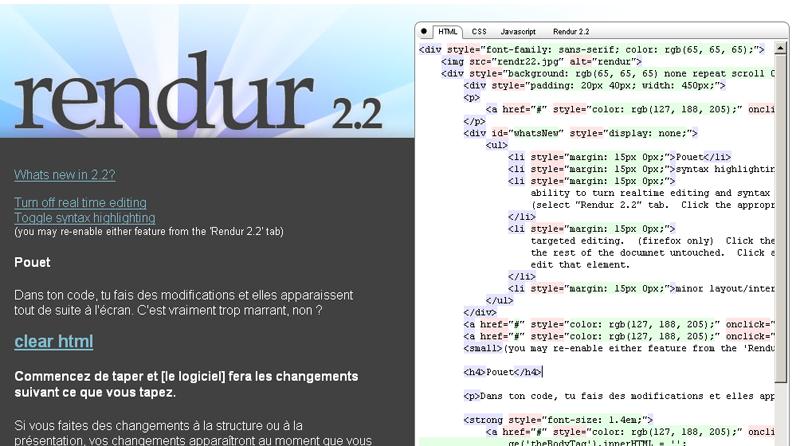 Rendur : un éditeur de code en ligne avec prévisualisation en temps réel...