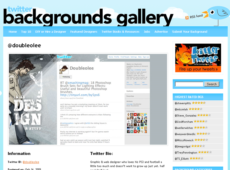 Twitter Backgrounds Gallery : la fiche d'un background...