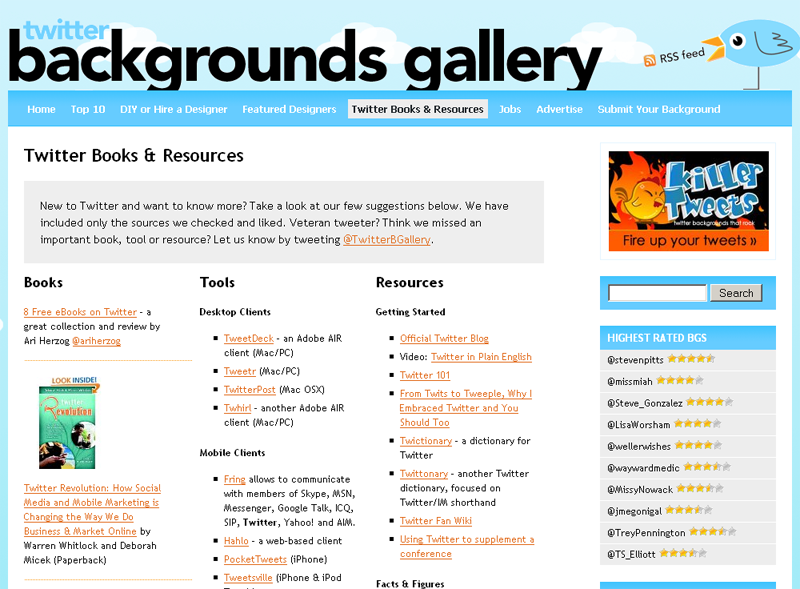 Twitter Backgrounds Addict : les ressources pour Twitter...