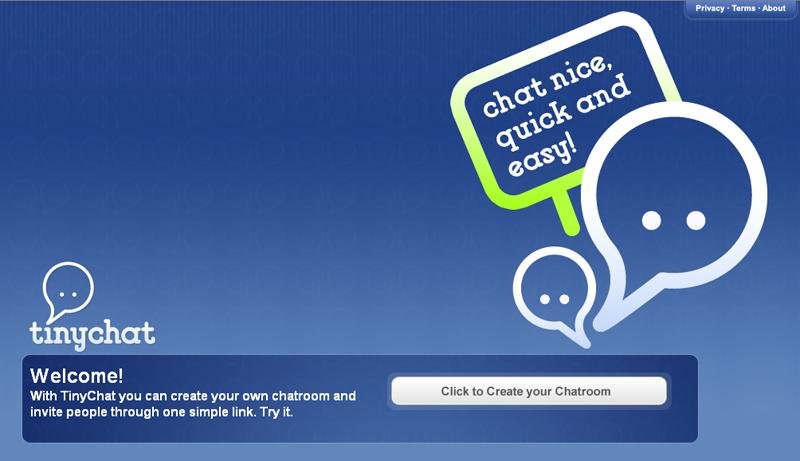 TinyChat : la page d'accueil...