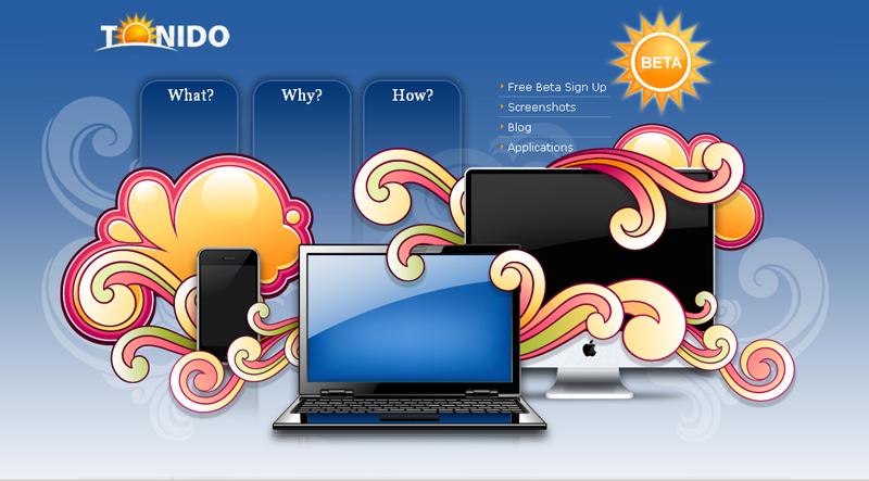 Tonido : la page d'accueil du site