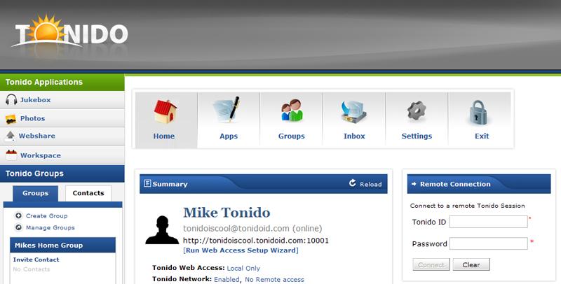 Tonido : l'interface d'administration centralisant tous les modules