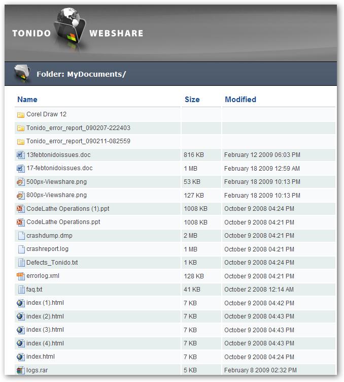 Tonido WebShare