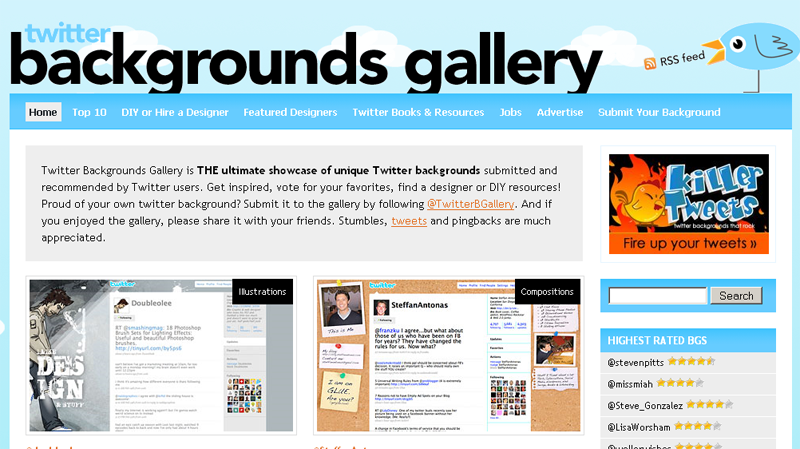 Twitter Backgrounds Gallery : la page d'accueil...