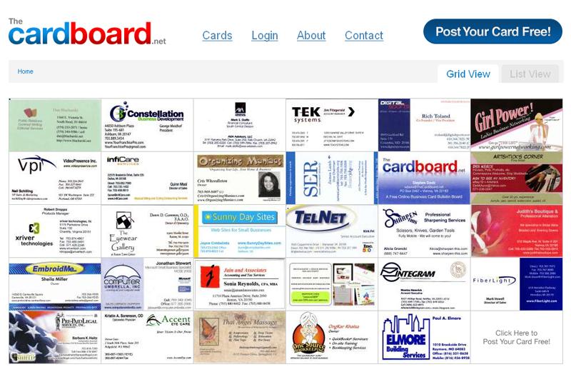 The CardBoard : la page d'accueil...