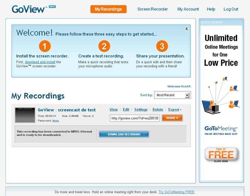 GoView : la page d'accueil