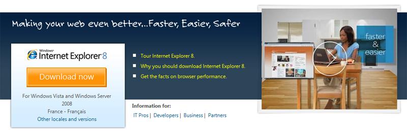 Internet Explorer 8 est disponible