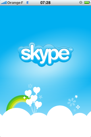 L'écran d'accueil de Skype !