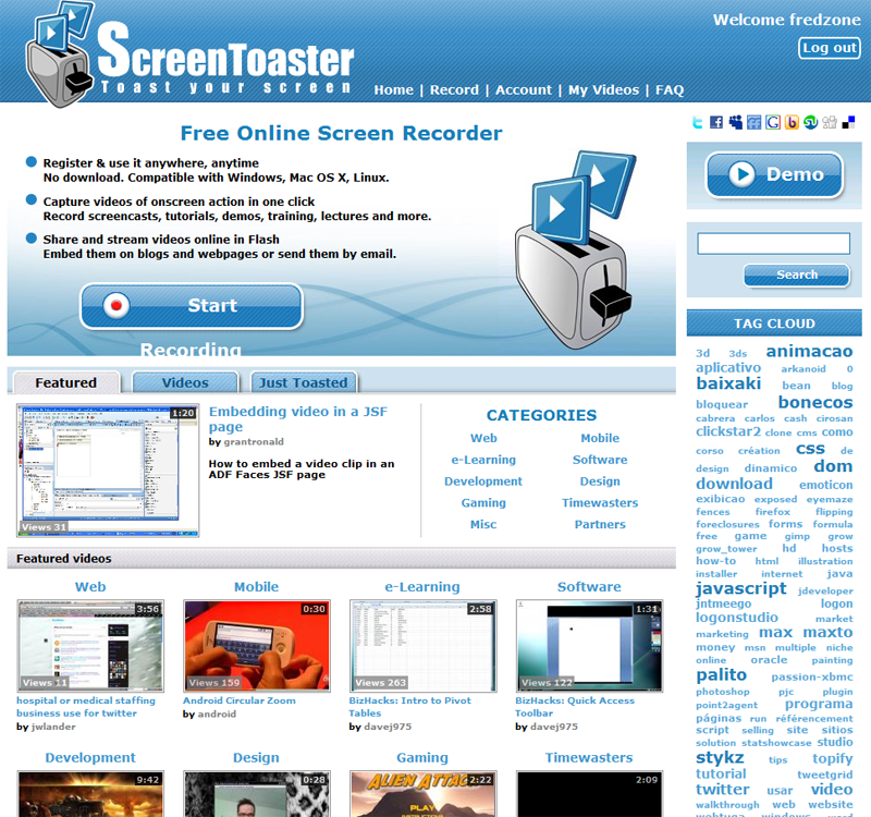ScreenToaster, la page d'accueil