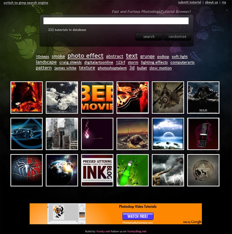Vunky Search : la page d'accueil