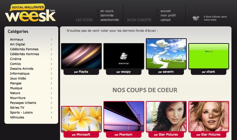 Weesk : la page d'accueil