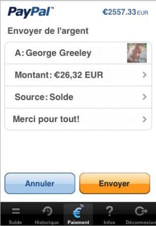 PayPal sur l'iPhone : envoyer de l'argent
