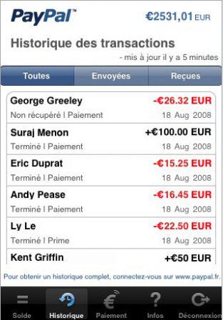 PayPal sur l'iPhone : l'historique des transactions