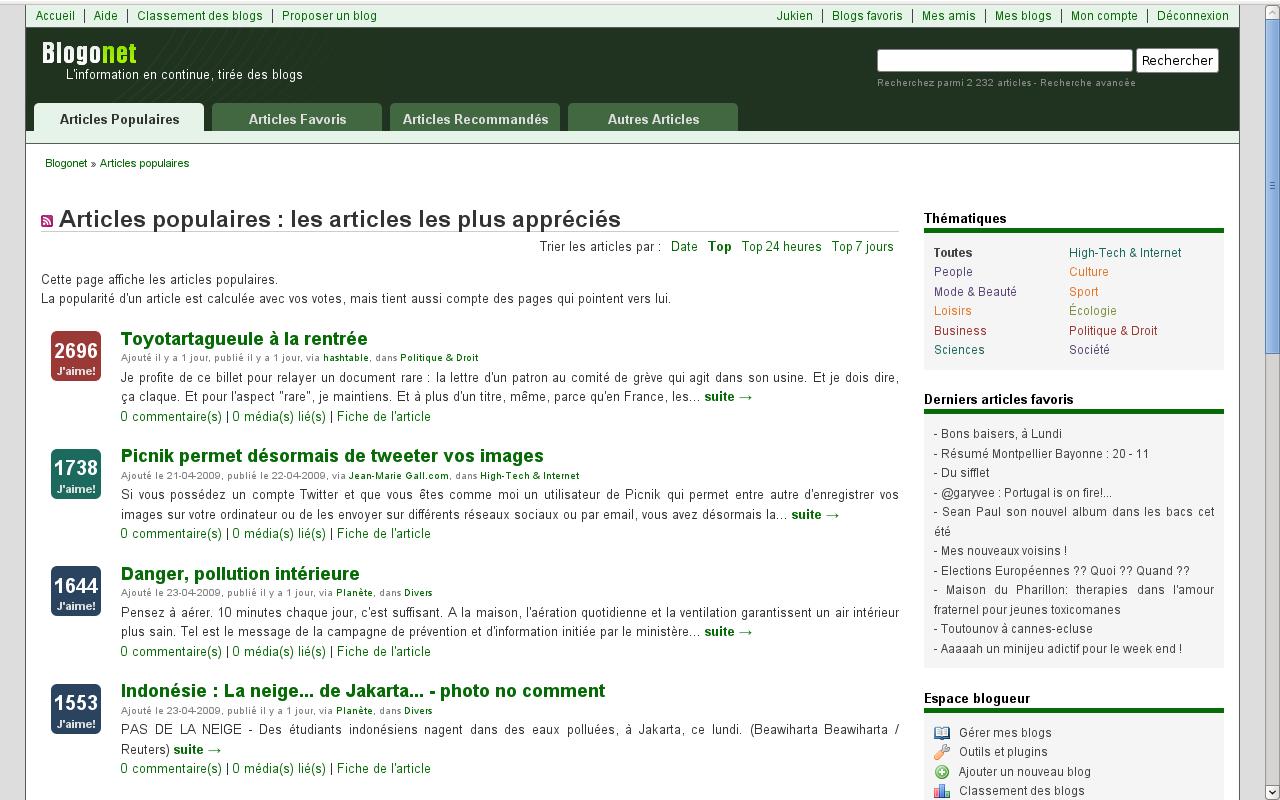 Blogonet : la nouvelle page d'accueil