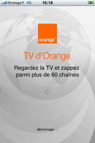 TV Orange : l'écran d'accueil