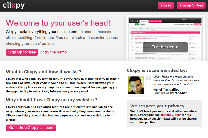 Clixpy : la page d'accueil du service