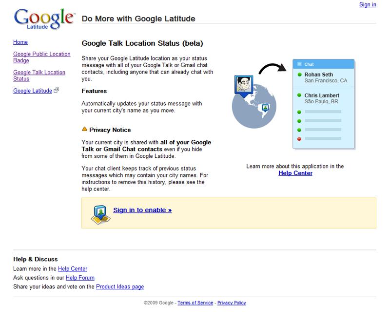 Google Latitude : implémentation dans Google Talk
