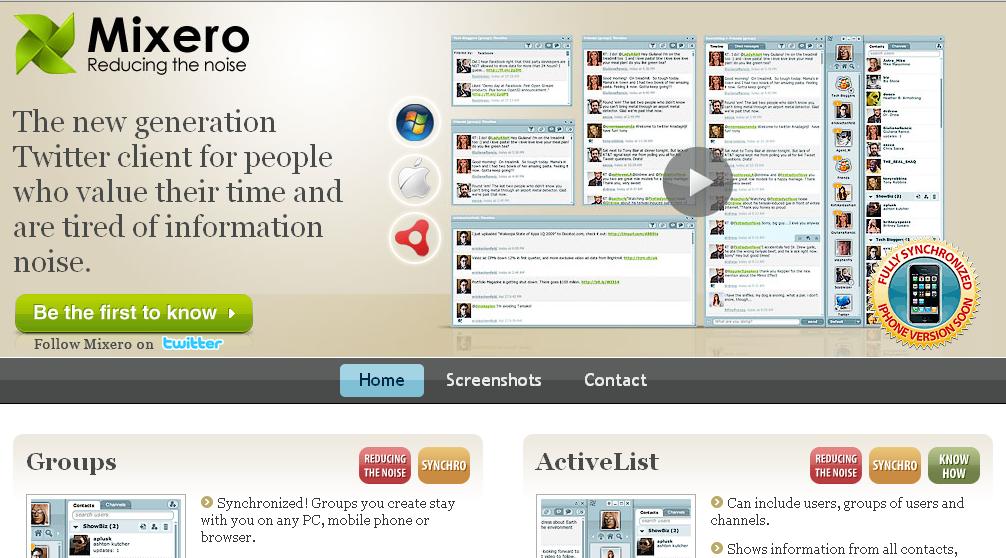 Mixero, la page d'accueil du service