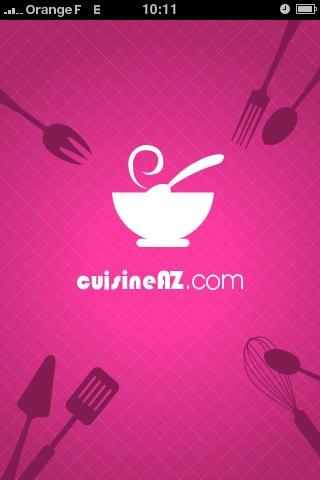 Cuisine AZ : l'écran de démarrage de l'application