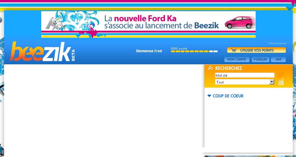 Beezik, la page d'accueil du service