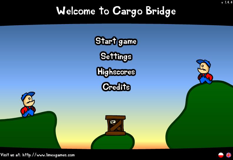 Cargo Bridge, l'écran d'accueil