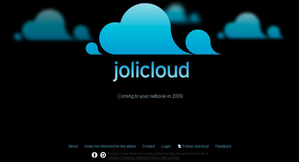 Jolicloud, la page d'accueil du service