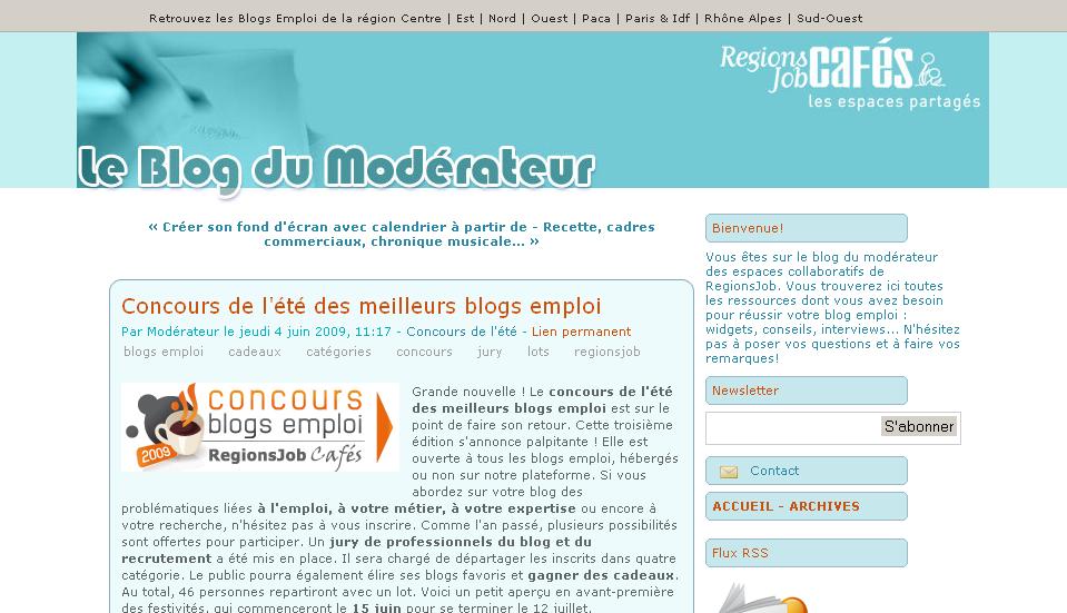 Le Modérateur : le concours des blogs emploi 2009