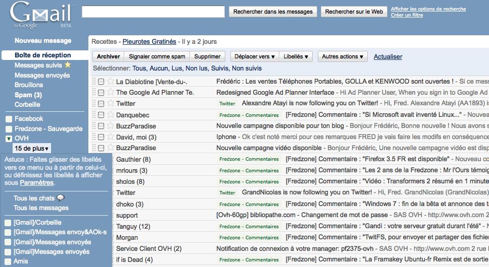 Gmail : le nouvel affichage des libellés