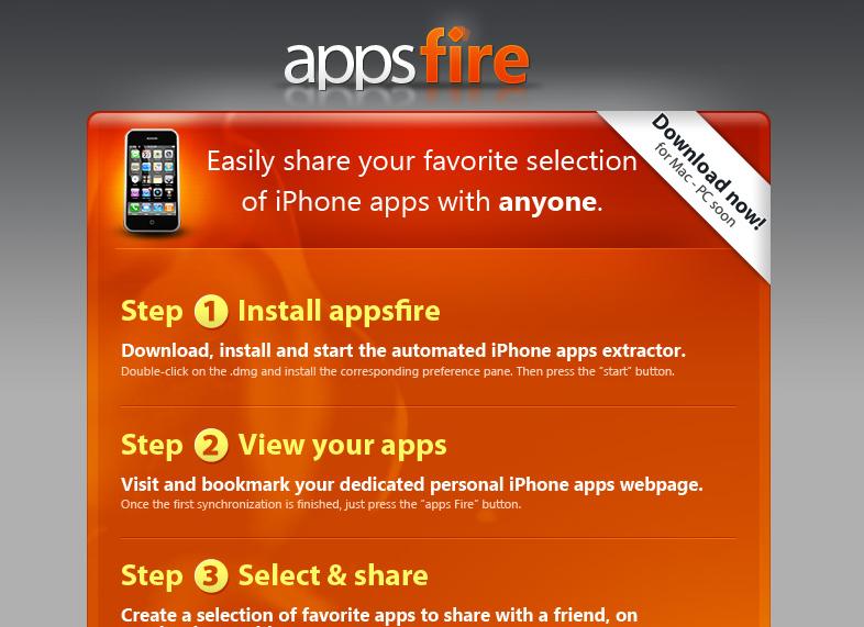 AppsFire : la page d'accueil du service