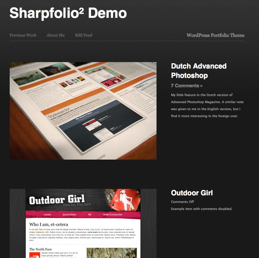 1er thème portfolio pour Wordpress : Sharpfolio