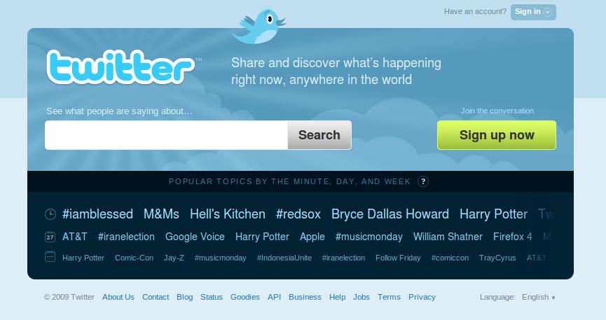 Twitter : la nouvelle page d'accueil