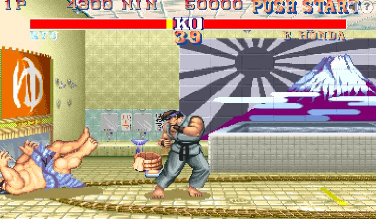 Street Fighter 2 : Honda éclaté par terre