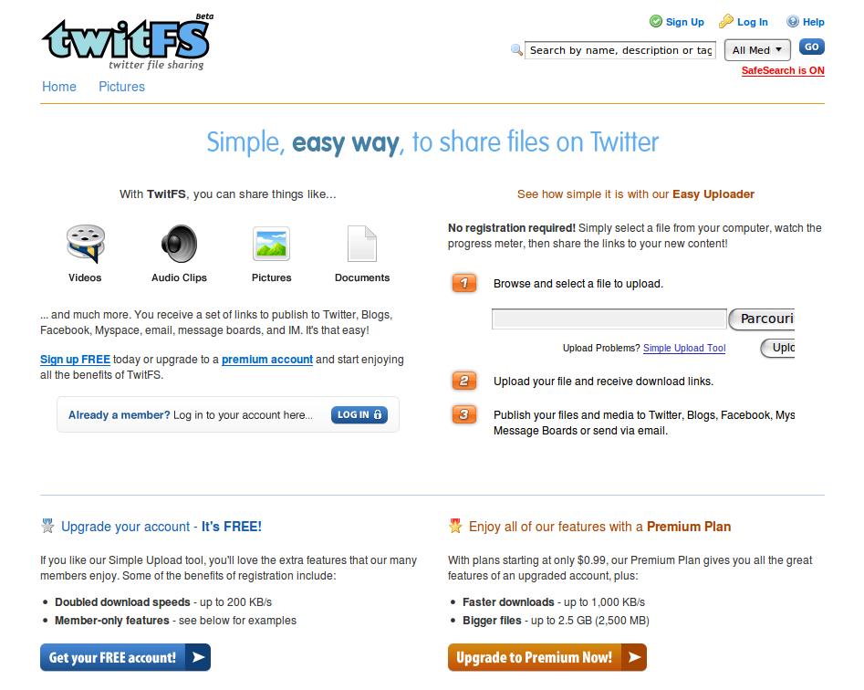 TwitFS : la page d'accueil du service
