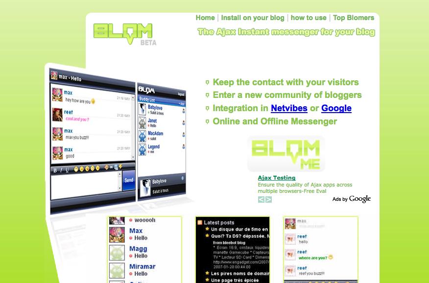 Blom, la page d'accueil du site