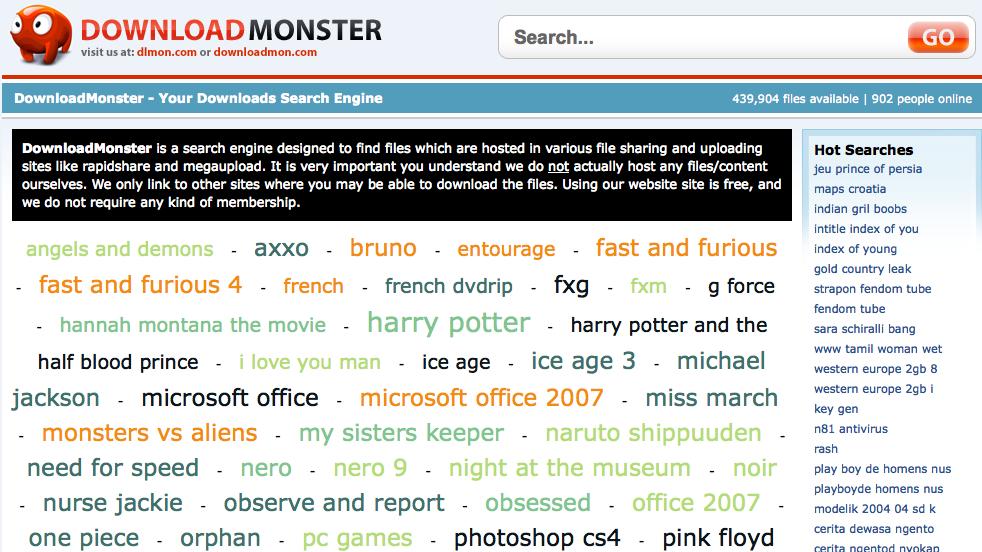DownloadMonster, la page d'accueil du service