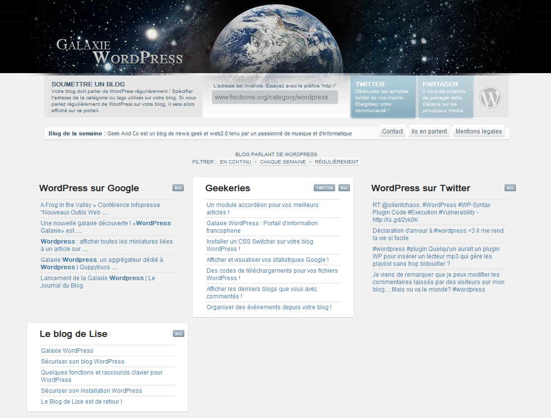 Galaxie Wordpress, un portail d'informations dédié à Wordpress
