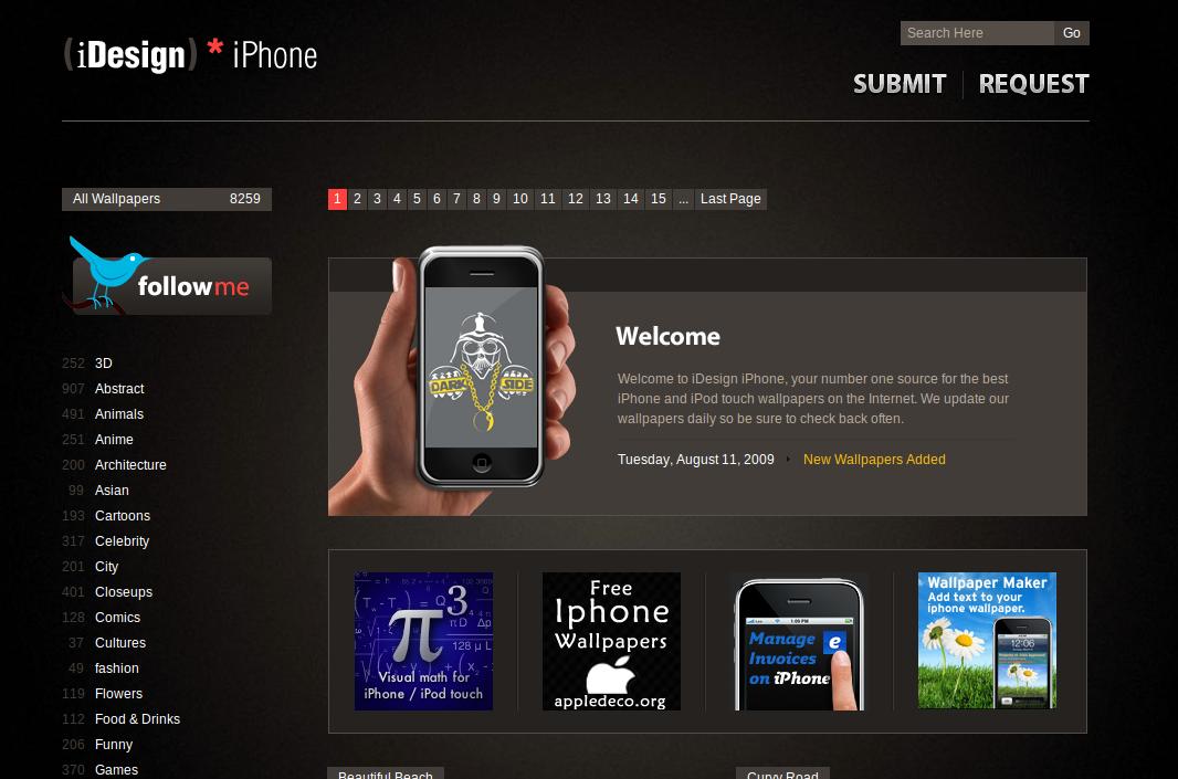 iDesign, la page d'accueil du site
