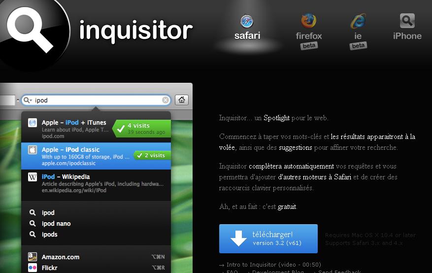 Inquisitor, la page d'accueil du site