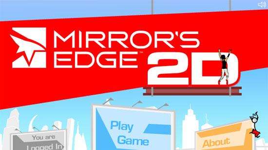 Mirror's Edge 2D : l'écran d'accueil