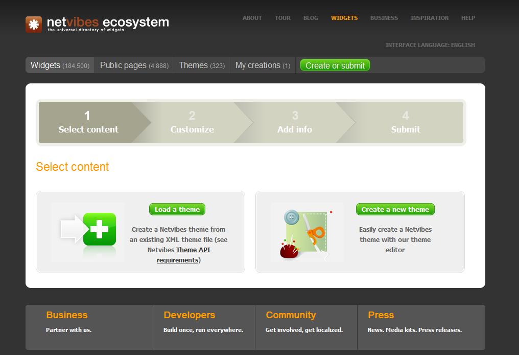 La page d'acceuil de l'écosystème Netvibes