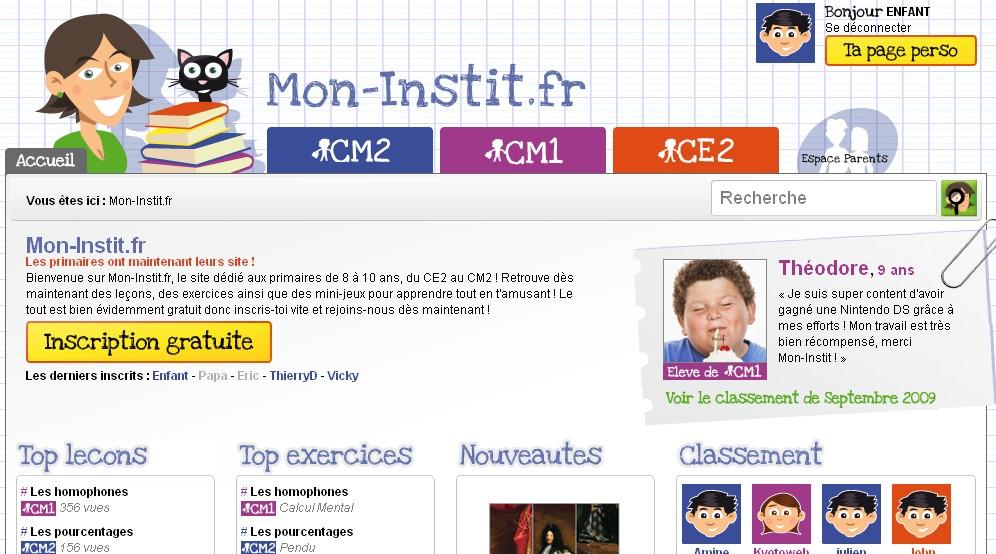 Mon-Instit.fr, la page d'accueil