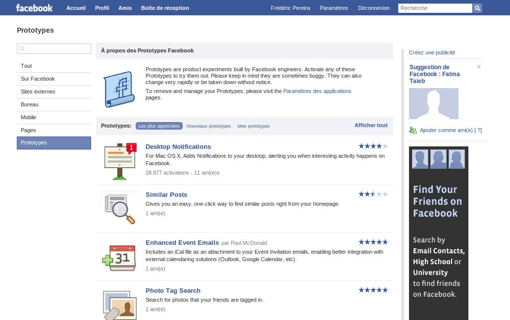 Facebook Prototypes
